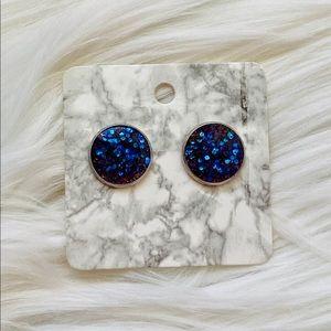 Cute purple glitter earrings